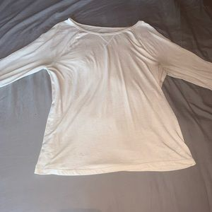 (3/$20)old navy vintage white 3/4 sleeve basic top